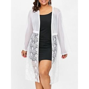 Plus Size Calf Length White Openwork Lace Cardigan